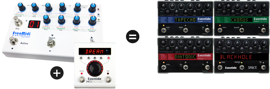 EvenMidi Eventide H9 and factor stompboxes